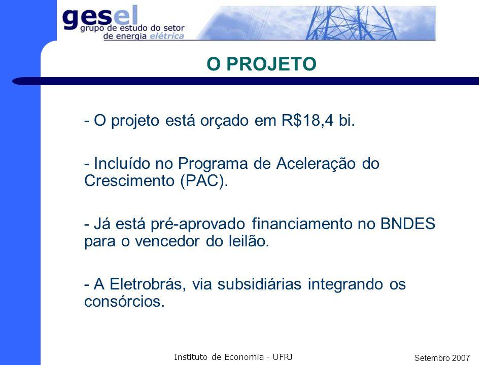 Setembro 2007 Instituto de Economia - UFRJ AS USINAS UHE SANTO ANTÔNIO INFORMAÇÕES TÉCNICAS Coordenadas geográficas: 08º48'04,0 S e 63º56'59,8 W Localização: Rio Madeira, a 10 Km de Porto Velho (RO) Distância da foz: 1.063 Km Área de drenagem: 988.873 Km² Nível de montante: 70 metros Nível de jusante: 52,73 metros Potência: 3.150 MW Energia firme: 2.140 MW médios Número de turbinas: 44 Tipo de turbina: Bulbo Reservatório: 271 Km² Interligação à Rede Básica (SIN): 500 kV, 5 km, circuito Duplo Prazo de geração da primeira unidade: 48 meses Prazo de conclusão da instalação: 90 meses (7,5 anos) UHE JIRAU INFORMAÇÕES TÉCNICAS Coordenadas geográficas: 09º10'49, S e 64º44'02,9 W Localização: Rio Madeira, em Rondônia Distância da foz: 1.204 Km Área de drenagem: 972.710 Km² Nível de montante: 90 metros Nível de jusante: 72,9 metros Potência: 3.300 MW Energia firme: 1.900 MW médios Número de turbinas: 44 Tipo de turbina: Bulbo Reservatório: 258 Km² Interligação à Rede Básica (SIN): 500 kV, 120 km, circuito Duplo Prazo de geração da primeira unidade: 48 meses Prazo de conclusão da instalação: 90 meses (7,5 anos) Fonte: Aneel