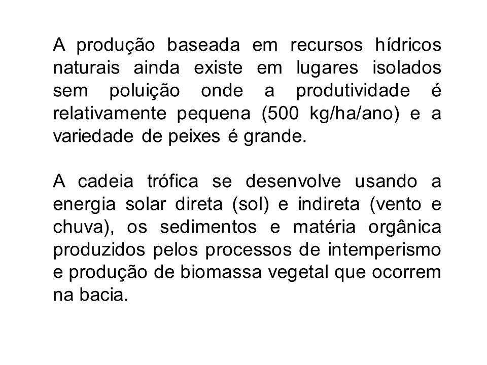 A produção baseada em recursos hídricos naturais ainda existe em lugares isolados sem poluição onde a produtividade é relativamente pequena (500 kg/ha