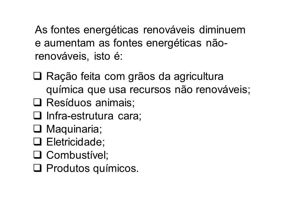 As fontes energéticas renováveis diminuem e aumentam as fontes energéticas não- renováveis, isto é:  Ração feita com grãos da agricultura química que