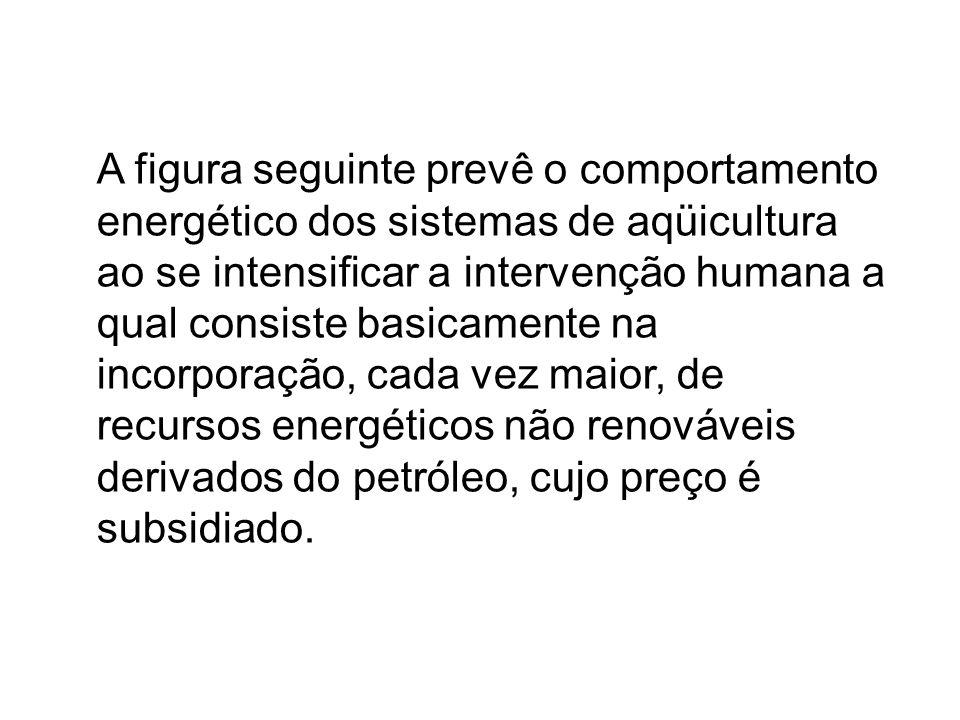 A figura seguinte prevê o comportamento energético dos sistemas de aqüicultura ao se intensificar a intervenção humana a qual consiste basicamente na