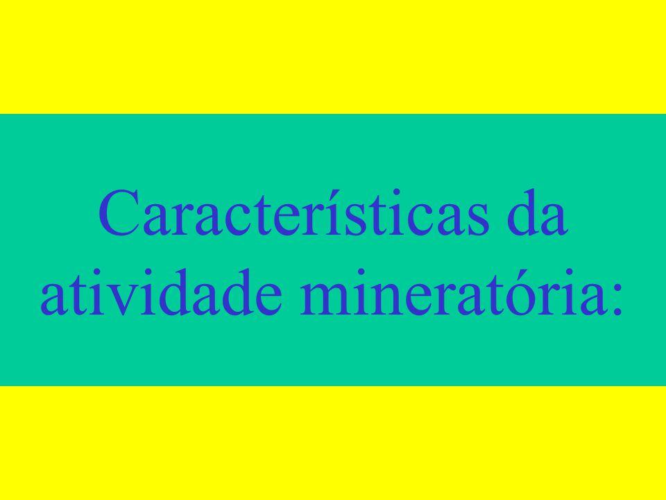 áreas da atividade mineratória:
