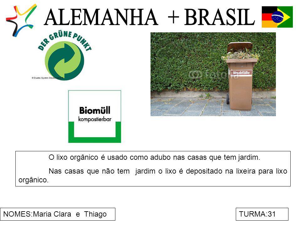 NOMES:Maria Clara e ThiagoTURMA:31 O lixo orgânico é usado como adubo nas casas que tem jardim. Nas casas que não tem jardim o lixo é depositado na li