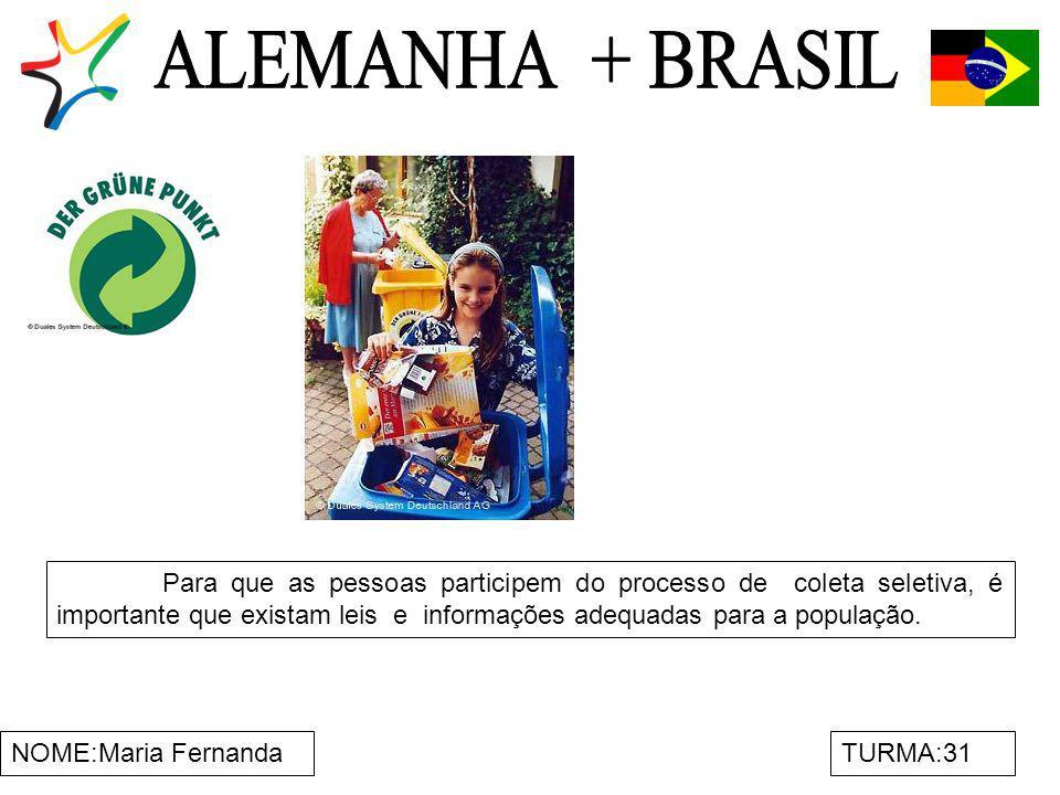 NOME:Maria FernandaTURMA:31 Para que as pessoas participem do processo de coleta seletiva, é importante que existam leis e informações adequadas para