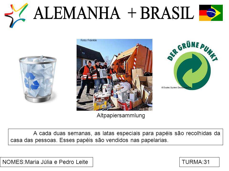NOMES:Maria Júlia e Pedro LeiteTURMA:31 A cada duas semanas, as latas especiais para papéis são recolhidas da casa das pessoas. Esses papéis são vendi