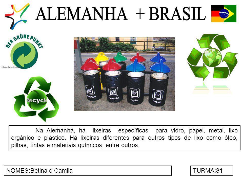 NOMES:Betina e CamilaTURMA:31 Na Alemanha, há lixeiras específicas para vidro, papel, metal, lixo orgânico e plástico. Há lixeiras diferentes para out