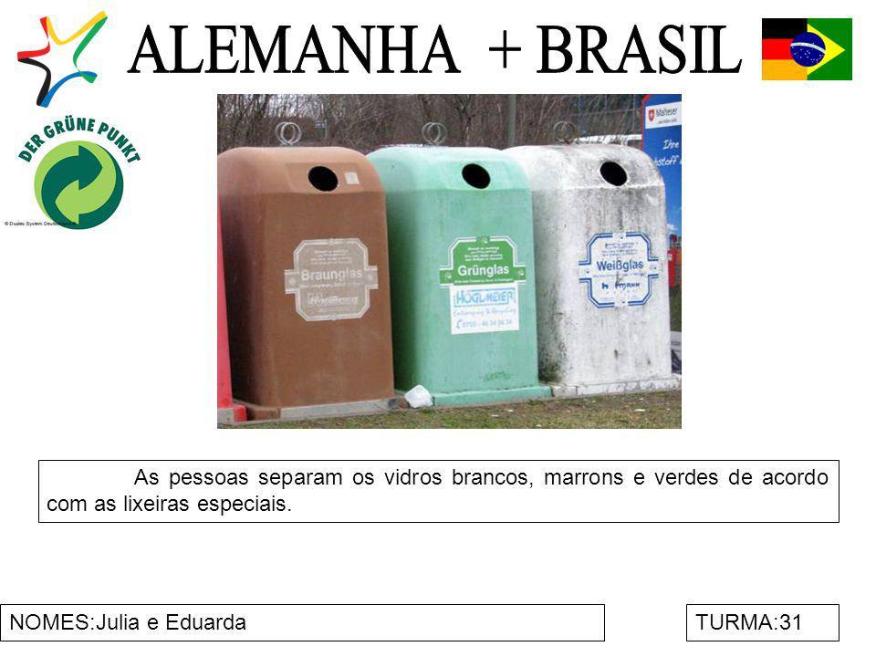 NOMES:Julia e EduardaTURMA:31 As pessoas separam os vidros brancos, marrons e verdes de acordo com as lixeiras especiais.