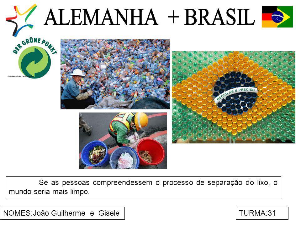 NOMES:João Guilherme e GiseleTURMA:31 Se as pessoas compreendessem o processo de separação do lixo, o mundo seria mais limpo.
