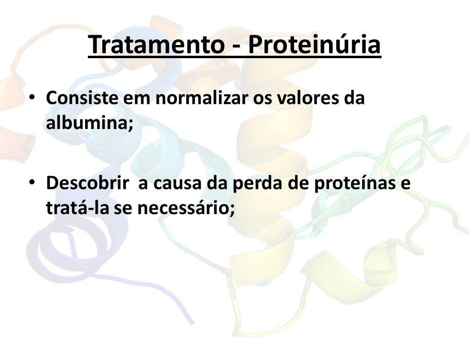 Tratamento - Proteinúria Consiste em normalizar os valores da albumina; Descobrir a causa da perda de proteínas e tratá-la se necessário;