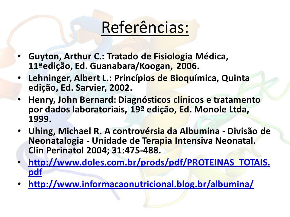 Referências: Guyton, Arthur C.: Tratado de Fisiologia Médica, 11ªedição, Ed. Guanabara/Koogan, 2006. Lehninger, Albert L.: Princípios de Bioquímica, Q