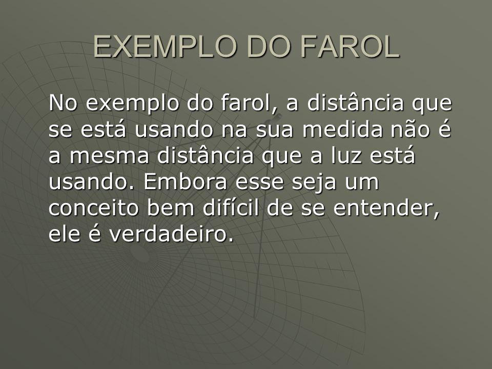 EXEMPLO DO FAROL No exemplo do farol, a distância que se está usando na sua medida não é a mesma distância que a luz está usando.