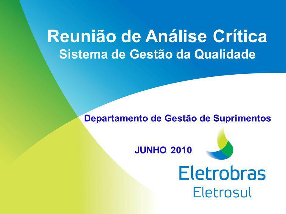 Reunião de Análise Crítica Sistema de Gestão da Qualidade JUNHO 2010 Departamento de Gestão de Suprimentos