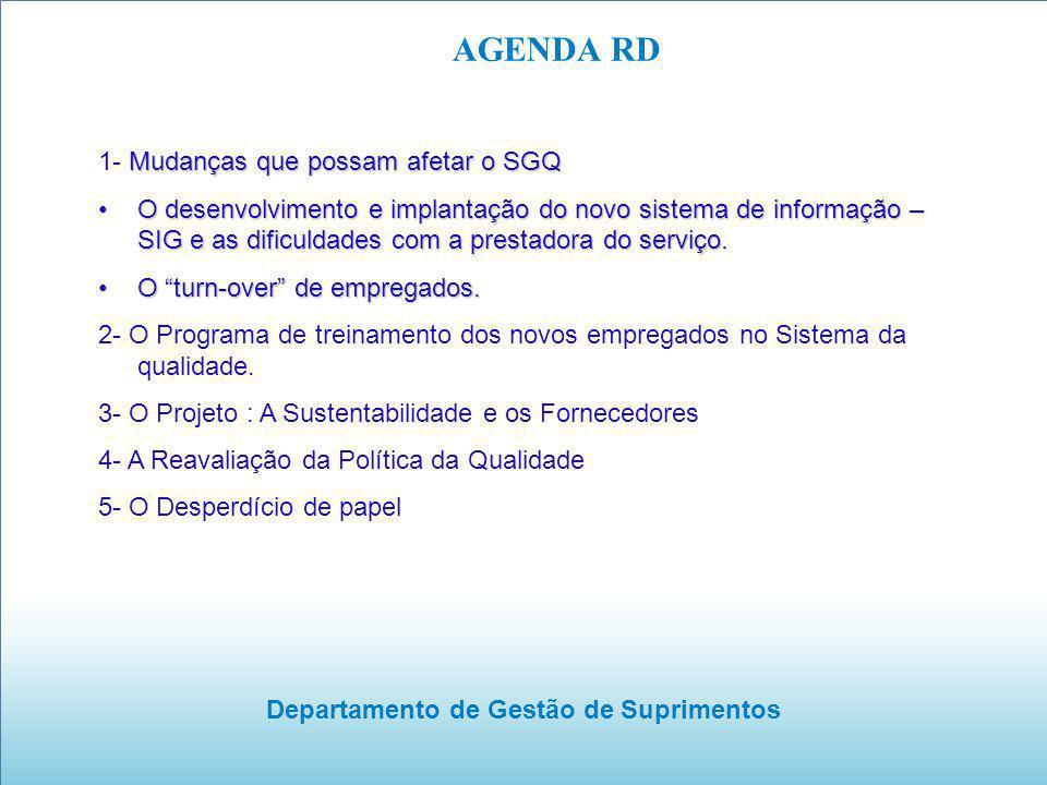 Departamento de Gestão de Suprimentos AGENDA RD Mudanças que possam afetar o SGQ 1- Mudanças que possam afetar o SGQ O desenvolvimento e implantação d