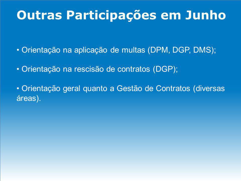 Outras Participações em Junho Orientação na aplicação de multas (DPM, DGP, DMS); Orientação na rescisão de contratos (DGP); Orientação geral quanto a