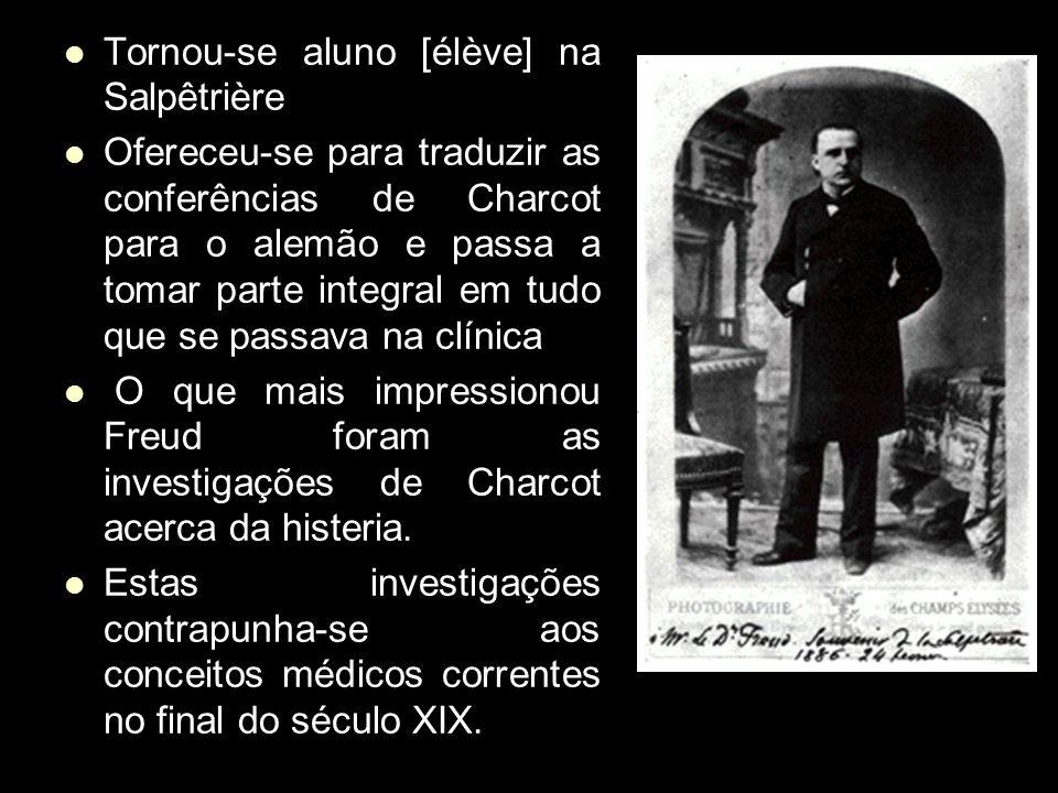 Tornou-se aluno [élève] na Salpêtrière Ofereceu-se para traduzir as conferências de Charcot para o alemão e passa a tomar parte integral em tudo que se passava na clínica O que mais impressionou Freud foram as investigações de Charcot acerca da histeria.
