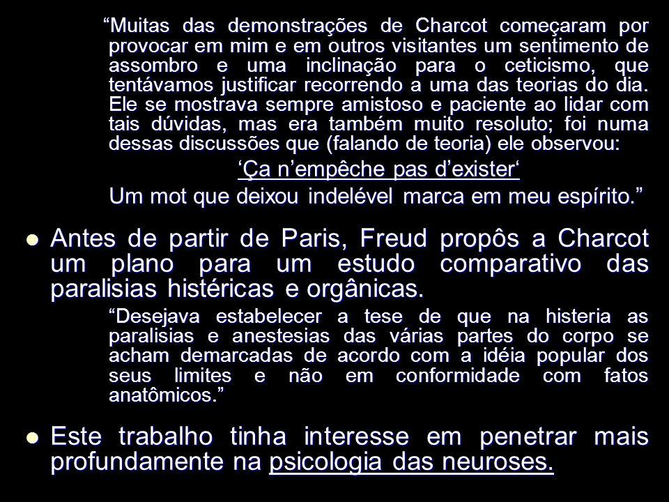 Muitas das demonstrações de Charcot começaram por provocar em mim e em outros visitantes um sentimento de assombro e uma inclinação para o ceticismo, que tentávamos justificar recorrendo a uma das teorias do dia.