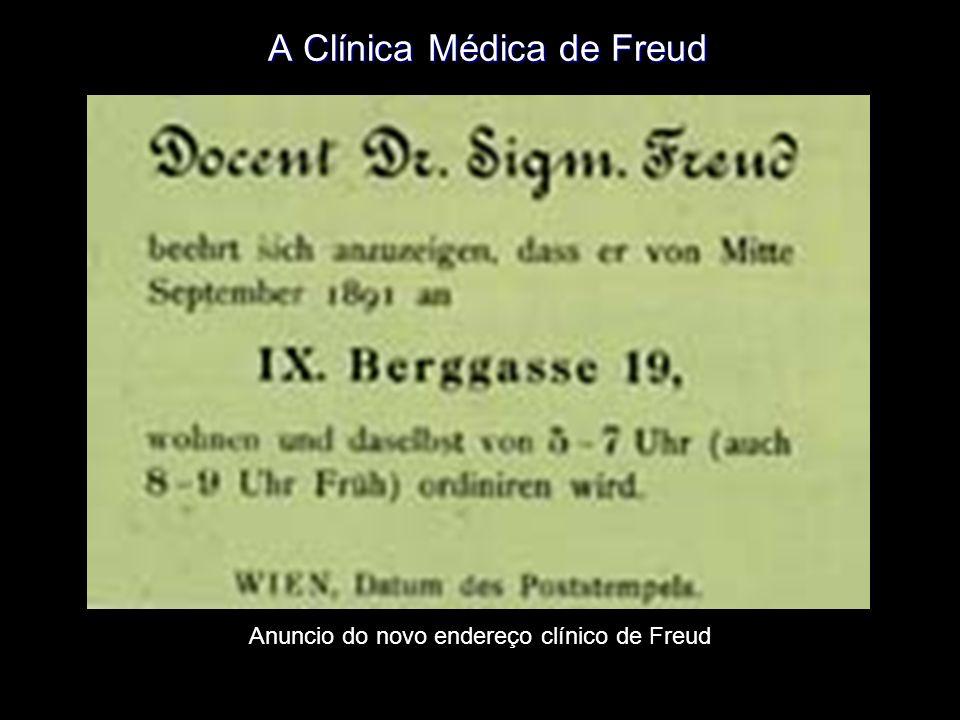 A Clínica Médica de Freud Anuncio do novo endereço clínico de Freud