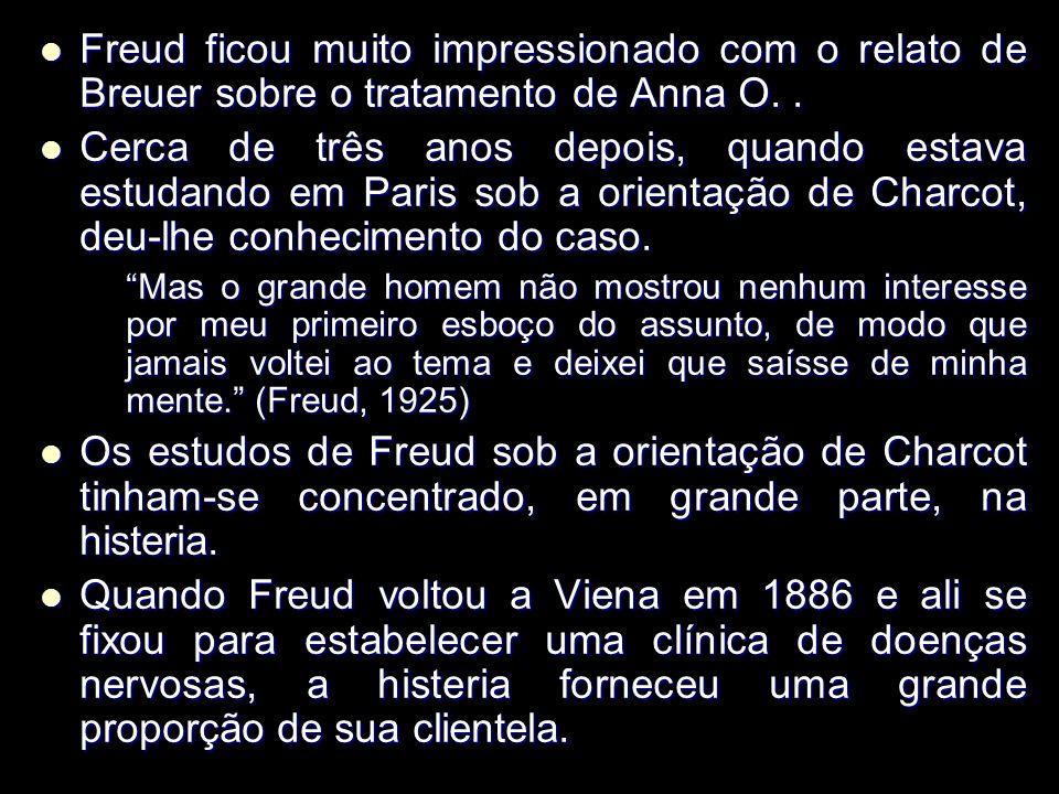 Freud ficou muito impressionado com o relato de Breuer sobre o tratamento de Anna O..