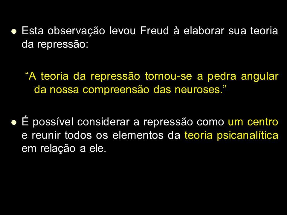 Esta observação levou Freud à elaborar sua teoria da repressão: A teoria da repressão tornou-se a pedra angular da nossa compreensão das neuroses. É possível considerar a repressão como um centro e reunir todos os elementos da teoria psicanalítica em relação a ele.