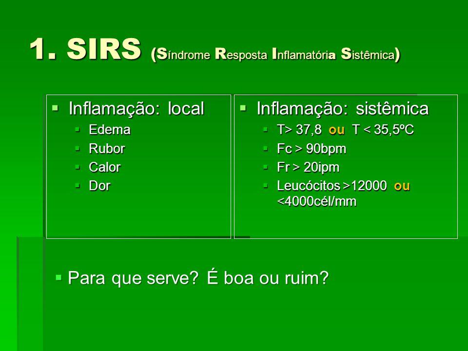 1. SIRS (S índrome R esposta I nflamatóri a S istêmica )  Inflamação: sistêmica  T> 37,8 ou T 37,8 ou T < 35,5ºC  Fc > 90bpm  Fr > 20ipm  Leucóci