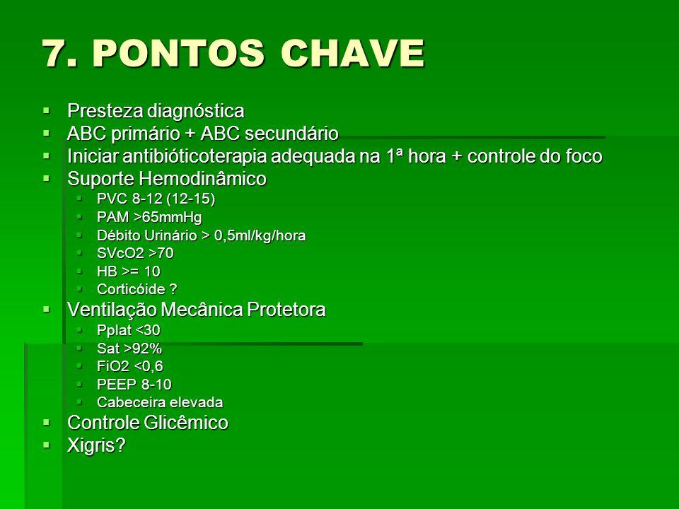 7. PONTOS CHAVE  Presteza diagnóstica  ABC primário + ABC secundário  Iniciar antibióticoterapia adequada na 1ª hora + controle do foco  Suporte H