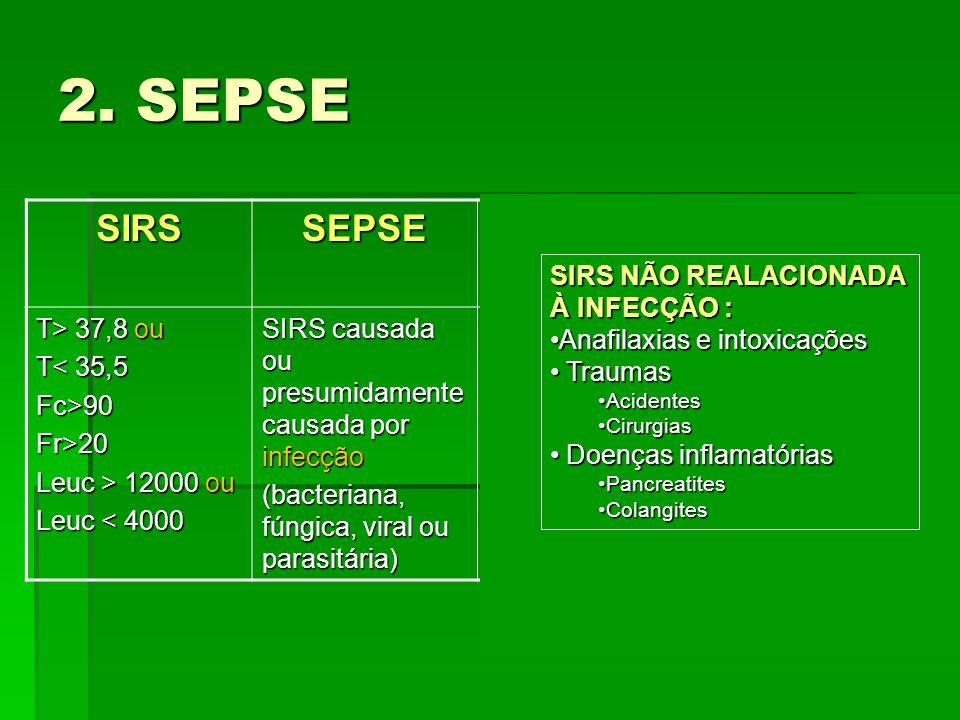 2. SEPSE SIRSSEPSE SEPSE GRAVE CHOQUE SÉPTICO T> 37,8 ou T< 35,5 Fc>90Fr>20 Leuc > 12000 ou Leuc < 4000 SIRS causada ou presumidamente causada por inf