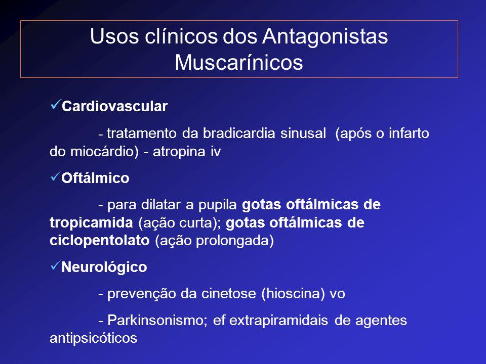Usos clínicos dos Antagonistas Muscarínicos Cardiovascular - tratamento da bradicardia sinusal (após o infarto do miocárdio) - atropina iv Oftálmico -