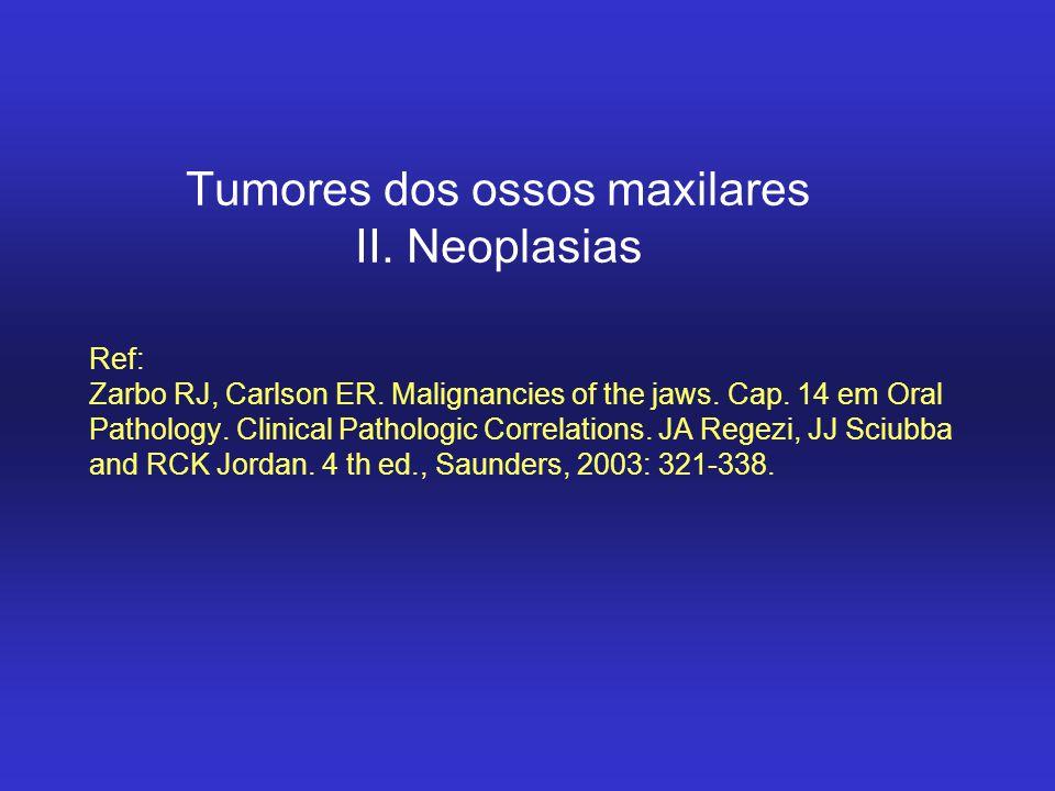 Classificação Neoplasias benignas –Formadoras de osso: osteoma, ost osteóide, osteoblastoma, fibroma ossificante (FCO) –Formadoras de cartilagem: Condroma –Outras: hemangioma, tumor giganto-celular verdadeiro.