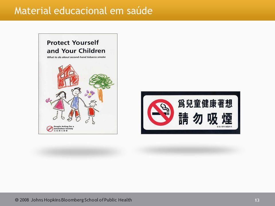  2008 Johns Hopkins Bloomberg School of Public Health 13 Material educacional em saúde