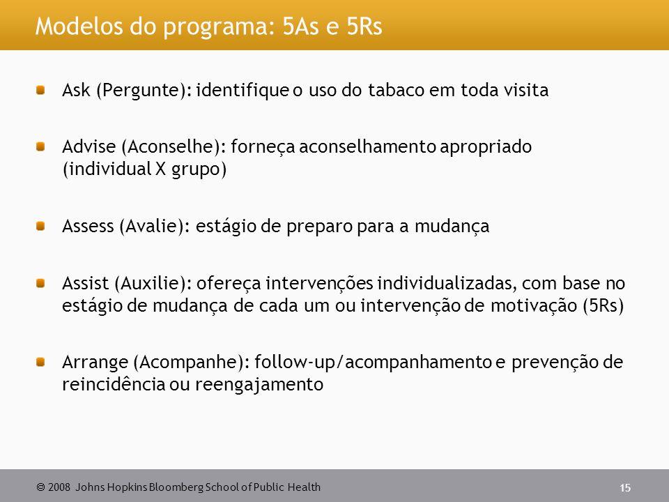  2008 Johns Hopkins Bloomberg School of Public Health 15 Modelos do programa: 5As e 5Rs Ask (Pergunte): identifique o uso do tabaco em toda visita Ad