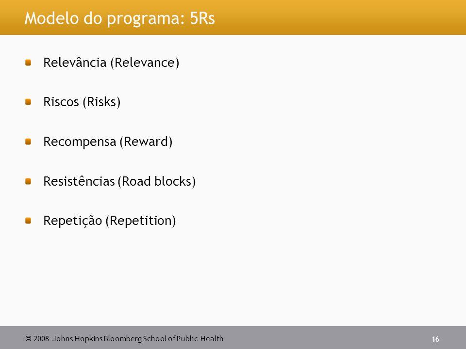  2008 Johns Hopkins Bloomberg School of Public Health 16 Modelo do programa: 5Rs Relevância (Relevance) Riscos (Risks) Recompensa (Reward) Resistências (Road blocks) Repetição (Repetition)