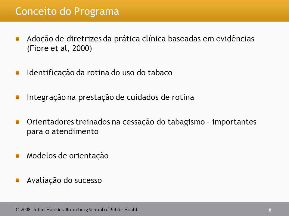  2008 Johns Hopkins Bloomberg School of Public Health 6 Conceito do Programa Adoção de diretrizes da prática clínica baseadas em evidências (Fiore et