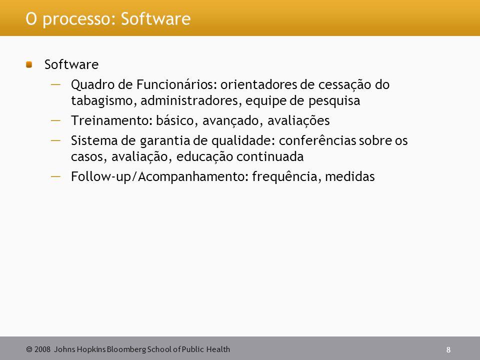  2008 Johns Hopkins Bloomberg School of Public Health 8 O processo: Software Software  Quadro de Funcionários: orientadores de cessação do tabagismo