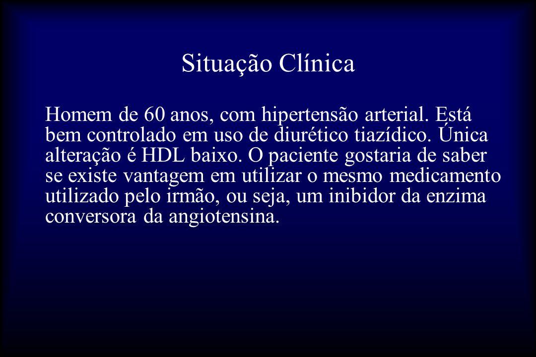 Situação Clínica Homem de 60 anos, com hipertensão arterial. Está bem controlado em uso de diurético tiazídico. Única alteração é HDL baixo. O pacient
