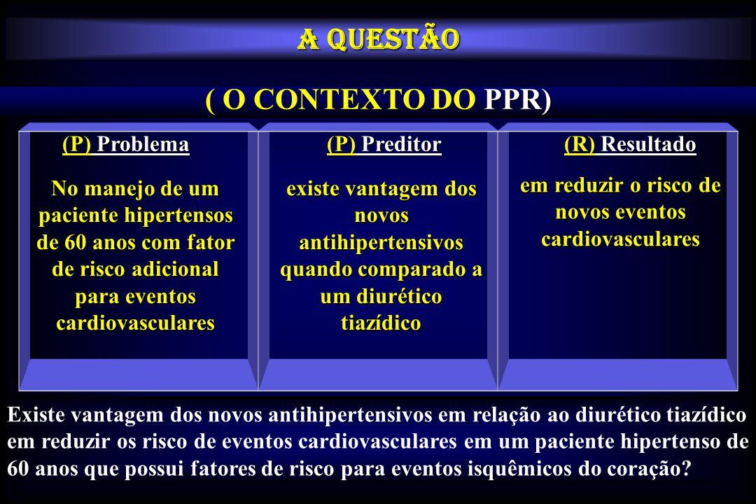 (P) Problema (P) Preditor (R) Resultado No manejo de um paciente hipertensos de 60 anos com fator de risco adicional para eventos cardiovasculares exi