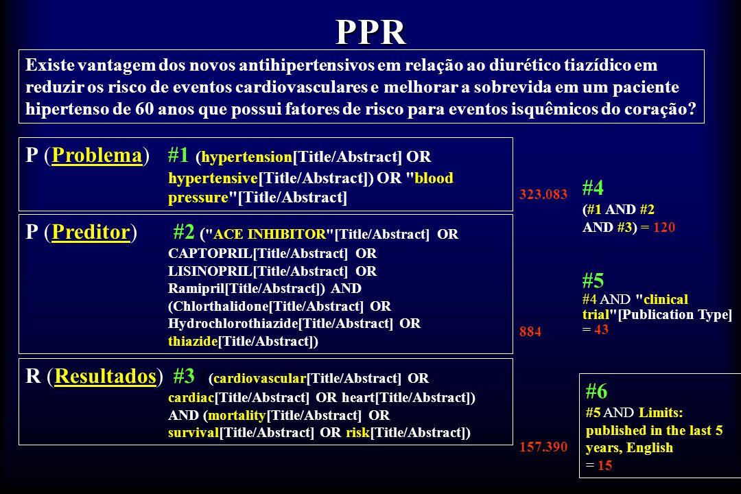 PPR Existe vantagem dos novos antihipertensivos em relação ao diurético tiazídico em reduzir os risco de eventos cardiovasculares e melhorar a sobrevi