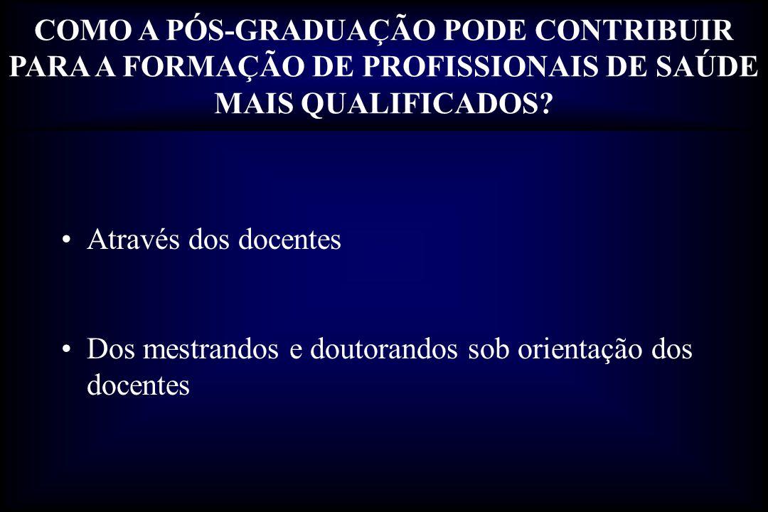 Integração da Pós-Graduação com a Graduação Integração da Pós-Graduação com a Especialização em Saúde (ex., residências das áreas de saúde) COMO A PÓS-GRADUAÇÃO PODE CONTRIBUIR PARA A FORMAÇÃO DE PROFISSIONAIS DE SAÚDE MAIS QUALIFICADOS.