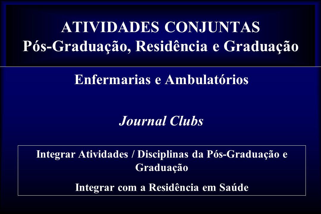 ATIVIDADES CONJUNTAS Pós-Graduação, Residência e Graduação Enfermarias e Ambulatórios Journal Clubs Integrar Atividades / Disciplinas da Pós-Graduação