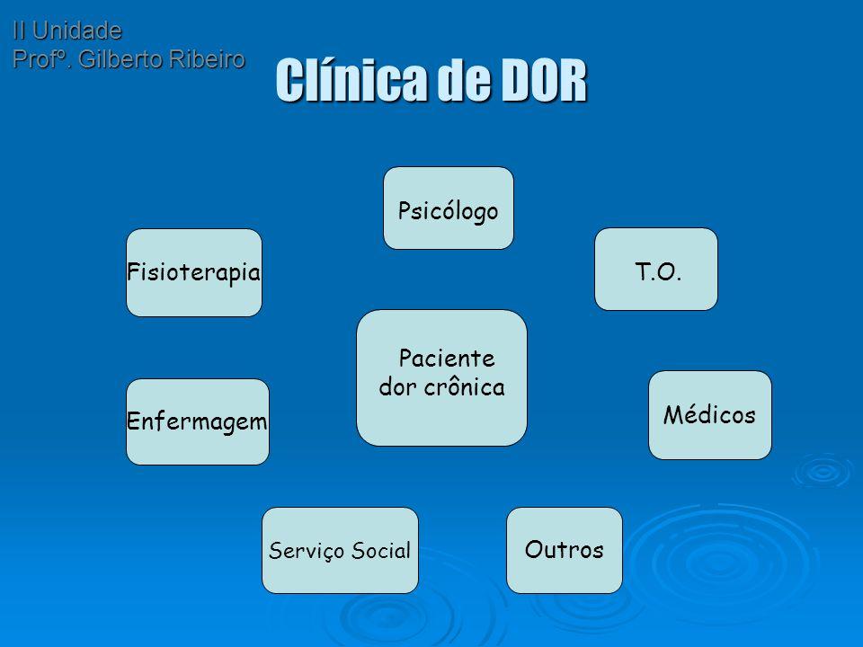 Clínica de DOR Paciente dor crônica Psicólogo Médicos T.O. Fisioterapia Enfermagem Serviço Social Outros II Unidade Profº. Gilberto Ribeiro