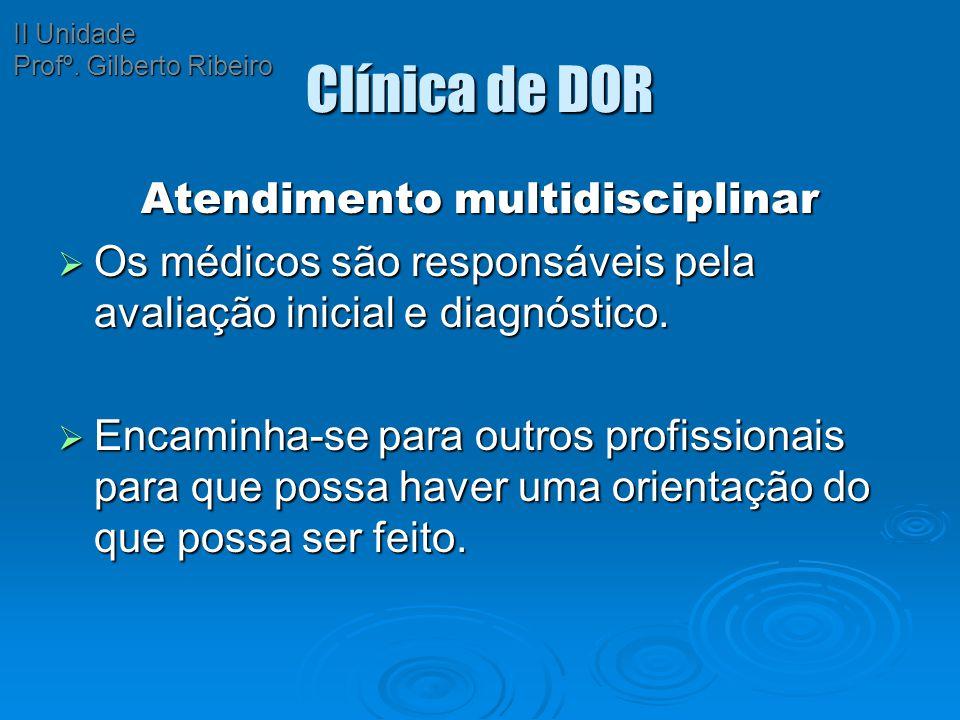 Clínica de DOR Atendimento multidisciplinar  Os médicos são responsáveis pela avaliação inicial e diagnóstico.  Encaminha-se para outros profissiona