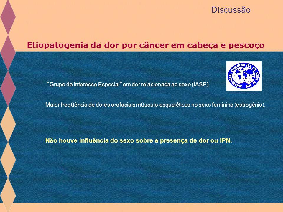 """Discussão Etiopatogenia da dor por câncer em cabeça e pescoço """" Grupo de Interesse Especial """" em dor relacionada ao sexo (IASP). Maior freq ü ência de"""