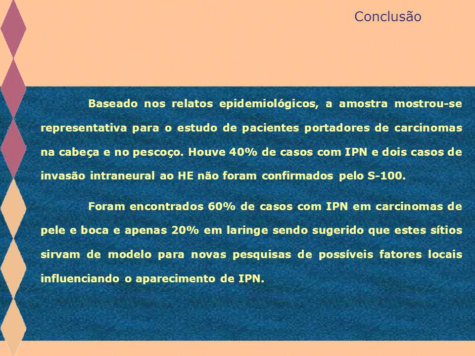 Conclusão Baseado nos relatos epidemiológicos, a amostra mostrou-se representativa para o estudo de pacientes portadores de carcinomas na cabeça e no