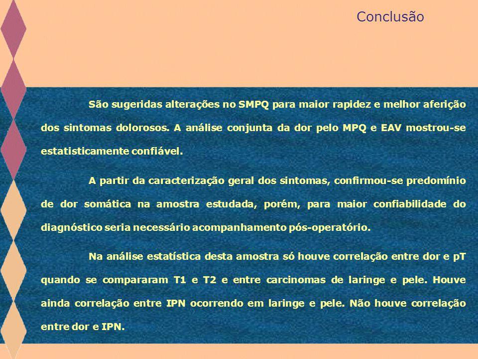 Conclusão São sugeridas alterações no SMPQ para maior rapidez e melhor aferição dos sintomas dolorosos. A análise conjunta da dor pelo MPQ e EAV mostr