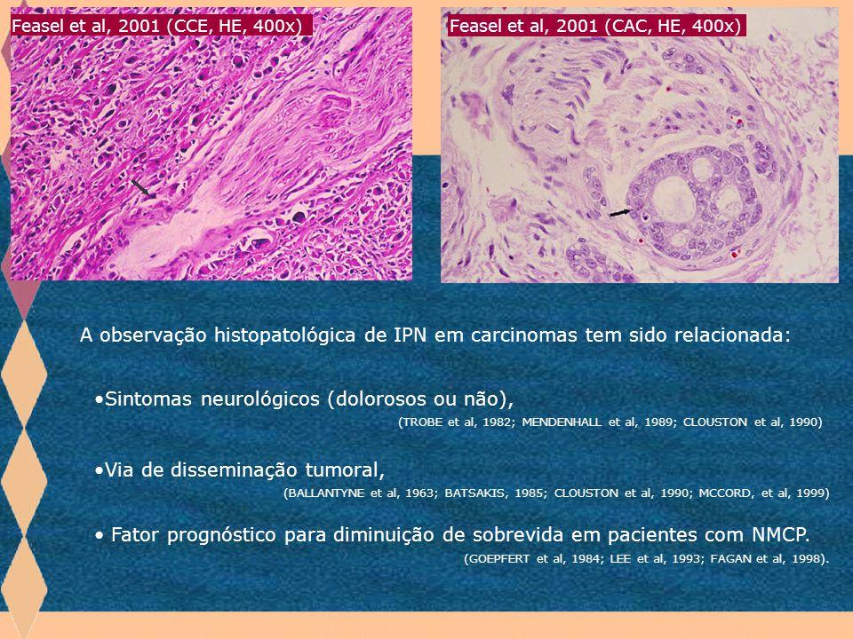 A observação histopatológica de IPN em carcinomas tem sido relacionada: Introdução Sintomas neurológicos (dolorosos ou não), (TROBE et al, 1982; MENDE