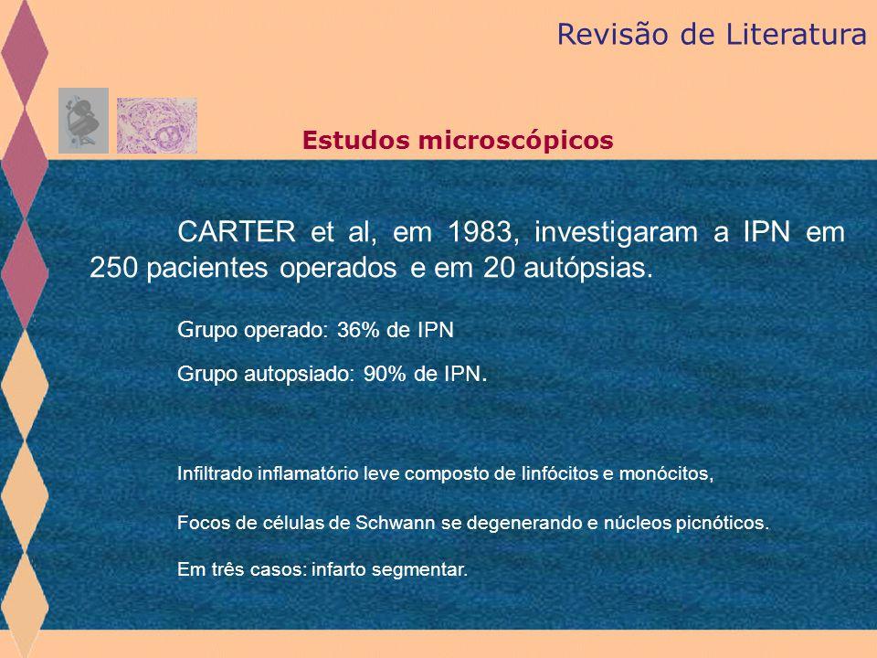 CARTER et al, em 1983, investigaram a IPN em 250 pacientes operados e em 20 autópsias. Revisão de Literatura G rupo operado: 36% de IPN Grupo autopsia
