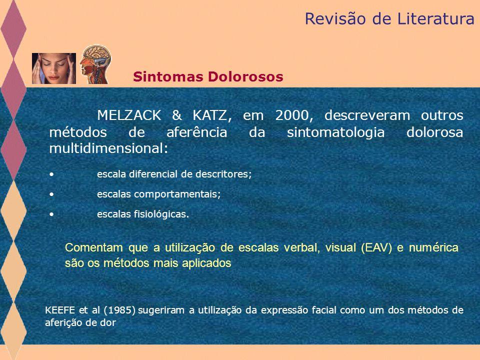 Revisão de Literatura Sintomas Dolorosos MELZACK & KATZ, em 2000, descreveram outros métodos de aferência da sintomatologia dolorosa multidimensional: