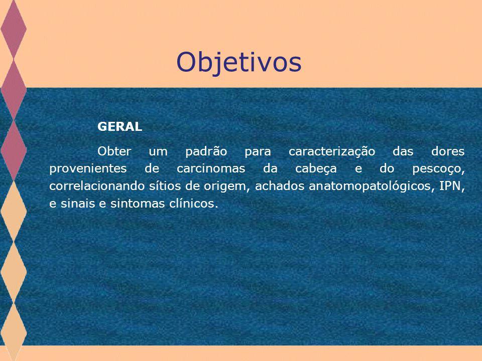 GERAL Obter um padrão para caracterização das dores provenientes de carcinomas da cabeça e do pescoço, correlacionando sítios de origem, achados anato
