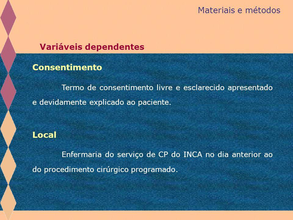 Materiais e métodos Consentimento Termo de consentimento livre e esclarecido apresentado e devidamente explicado ao paciente. Enfermaria do serviço de