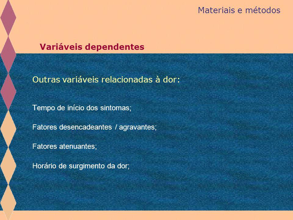 Materiais e métodos Variáveis dependentes T empo de in í cio dos sintomas; Fatores desencadeantes / agravantes; Fatores atenuantes; Hor á rio de surgi