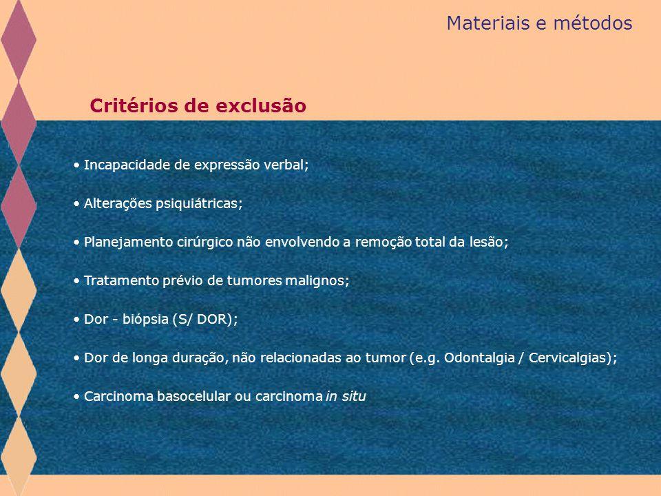 Materiais e métodos Incapacidade de expressão verbal; Alterações psiquiátricas; Planejamento cirúrgico não envolvendo a remoção total da lesão; Tratam