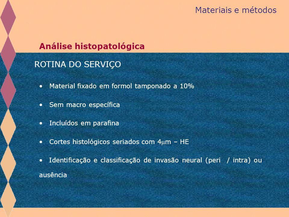 Materiais e métodos Análise histopatológica Material fixado em formol tamponado a 10% Sem macro específica Incluídos em parafina Cortes histológicos s